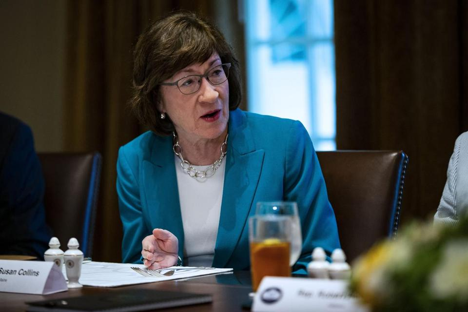 Sen. Susan Collins, R-Maine, during a lunch meeting with Republican lawmakers in the Cabinet Room of the White House in Washington on June 26, 2018. MUST CREDIT: Bloomberg photo by Al Drago.