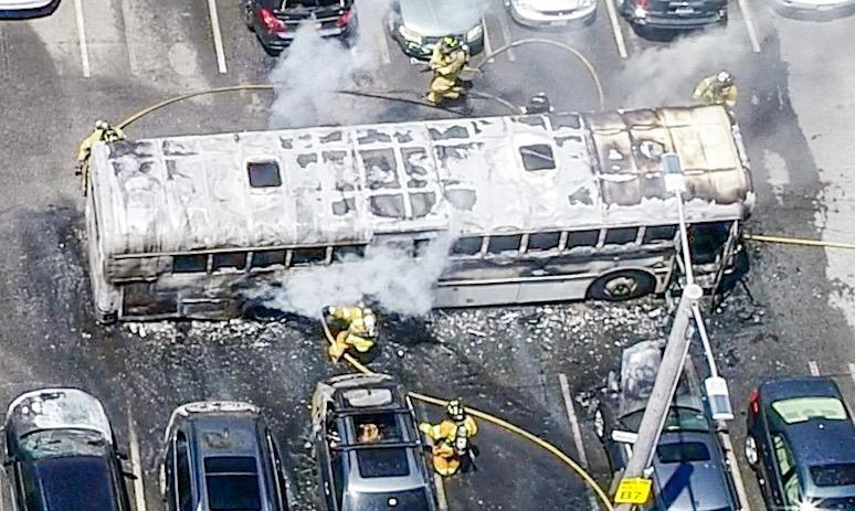 Firefighters responded to a bus fire in Falmouth on Saturday.