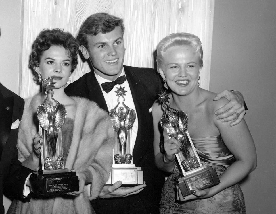 "Mr. Hunter with Natalie Wood (left) and Peggy Lee in 1955. He starred with Wood in two 1956 movies: ""The Burning Hills,"" a Western, and ""The Girl He Left Behind."""