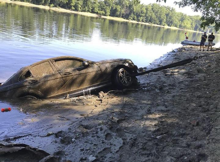 "Police recovered a Mercedes Benz from the Connecticut River this weekend that may have been there for 3 months — after the driver allegedly ""blacked out"" and lost it. Credit: Chicopee Police Department."
