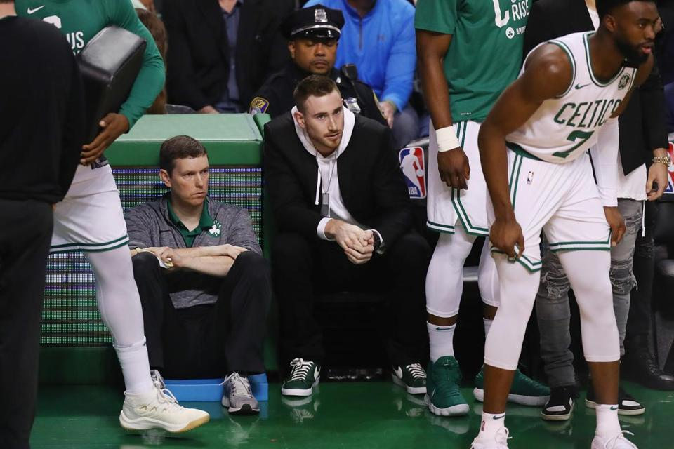 BOSTON, MA - MAY 27: Gordon Hayward #20 of the Boston Celtics attends Game Seven of the 2018 NBA Eastern Conference Finals between the Cleveland Cavaliers and the Boston Celtics at TD Garden on May 27, 2018 in Boston, Massachusetts. NOTE TO USER: User expressly acknowledges and agrees that, by downloading and or using this photograph, User is consenting to the terms and conditions of the Getty Images License Agreement. (Photo by Adam Glanzman/Getty Images)