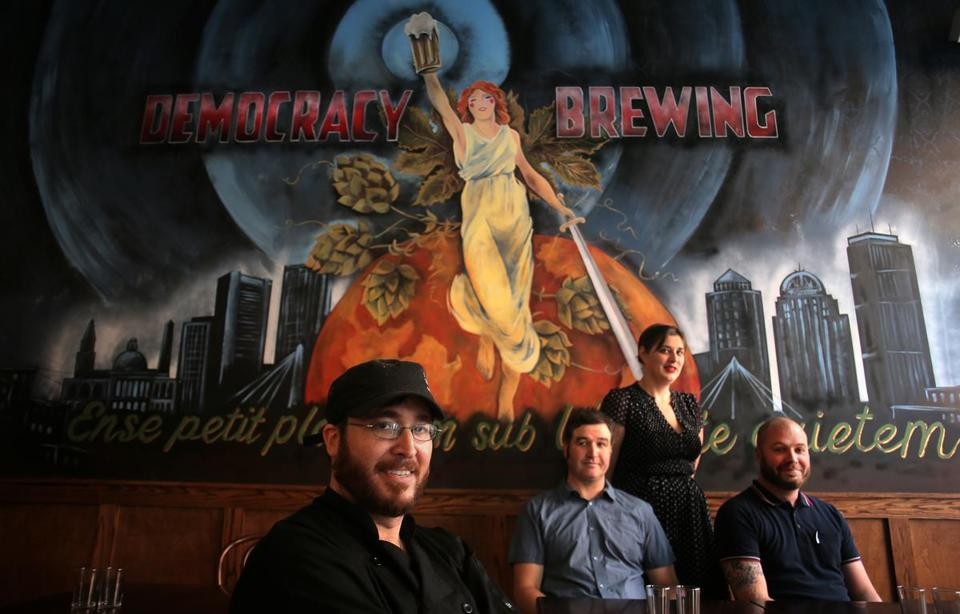 From left: Chef Ben Waxler, cofounder and brewing director Jason Taggart, general manager Courtney Bolinger, and cofounder and CEO James Razsa.