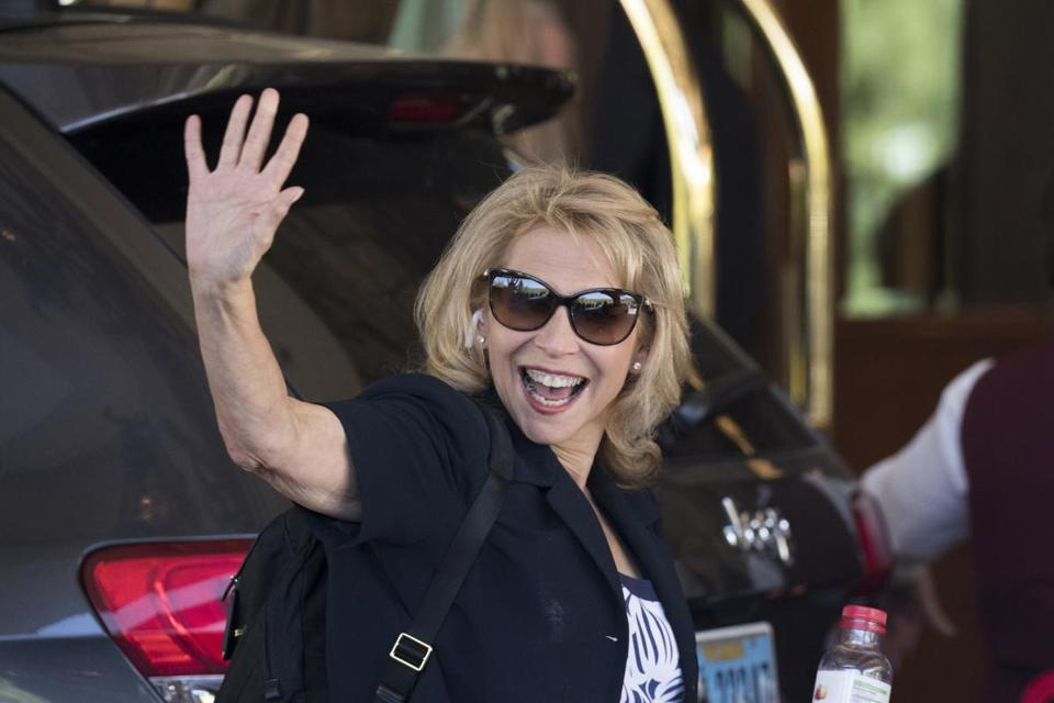 SUN VALLEY, ID - JULY 10: Shari Redstone, president of National Amusements and vice chairwoman of CBS Corporation, arrives at the Sun Valley Resort for the annual Allen & Company Sun Valley Conference July 10, 2018 in Sun Valley, Idaho. Every July, some of the world's wealthiest and most powerful business people in media, finance, technology and political spheres converge at the Sun Valley Resort for the exclusive week-long conference. (Photo by Drew Angerer/Getty Images)