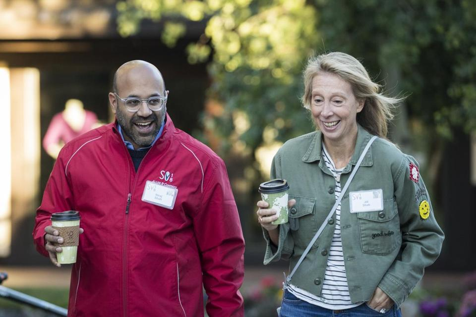 Niraj Shah (left), chief executive officer of Wayfair, and his wife Jill Shah arrived for a morning session of the annual Allen & Company Sun Valley Conference.