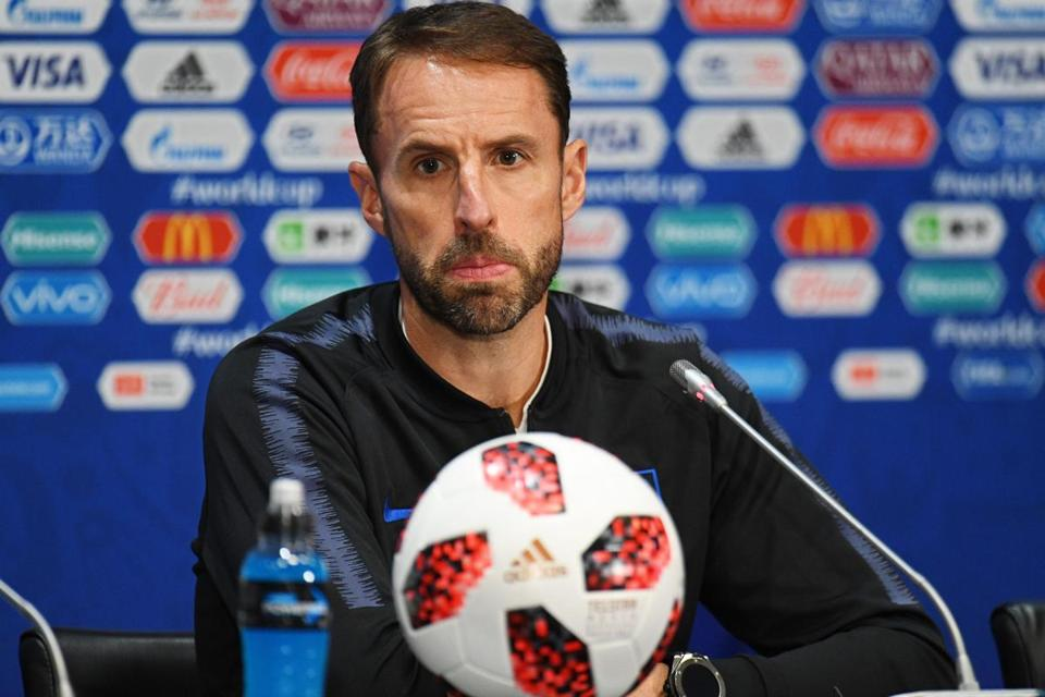 EDITORIAL USE ONLY Mandatory Credit: Photo by FACUNDO ARRIZABALAGA/EPA-EFE/REX/Shutterstock (9754011p) Gareth Southgate England press conference, Moscow, Russian Federation - 10 Jul 2018 England's head coach Gareth Southgate attends a press conference in Moscow, Russia, 10 July 2018. England will face Croatia in their FIFA World Cup 2018 semi final soccer match on 11 July.