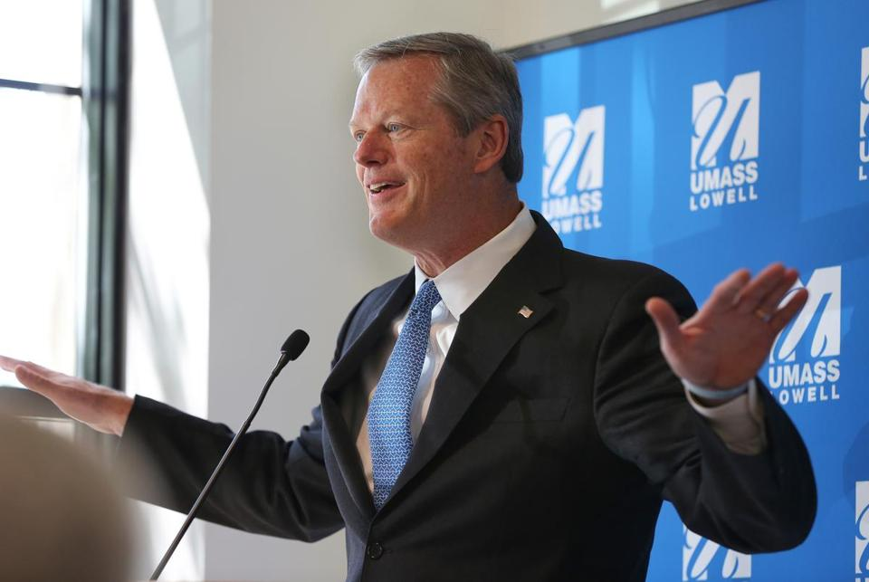 Lowell, MA - 7/12/18 - Governor Charlie Baker (cq) speaks at the opening of UMass Lowell's (cq) Fabric Discovery Center (cq). Photo by Pat Greenhouse/Globe Staff Topic: 13fabriccenter Reporter: XXX