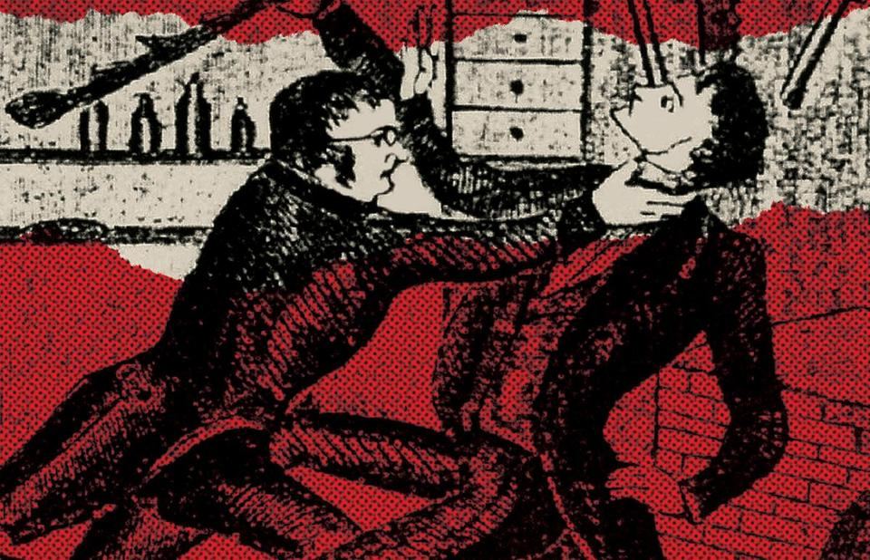 A 19th-century depiction of the murder of Dr. George Parkman by Professor John White Webster at Harvard University's Massachusetts Medical College in Boston.