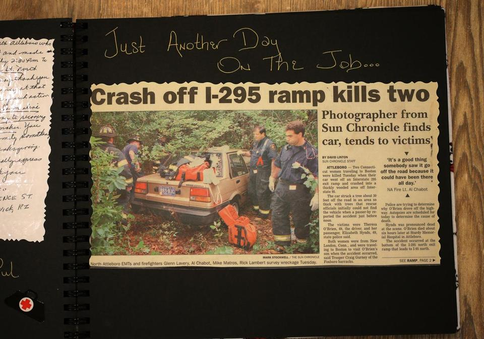 "A newspaper story and photo from Captain Rick Stack's scrapbook attests to the difficult scenes he has witnessed. His wife wrote ""Just another day on the job..."" in the book."