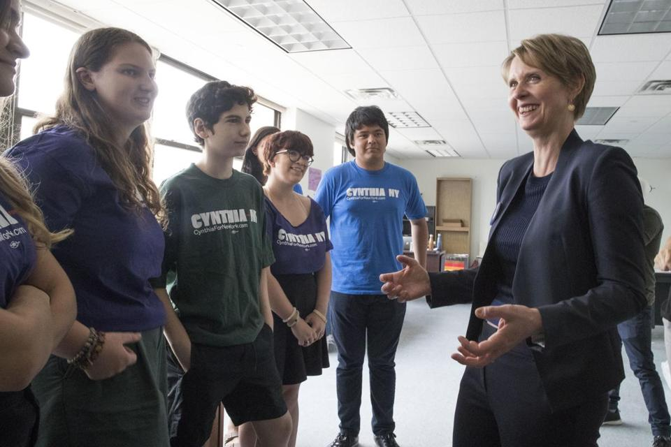 Democratic candidate for governor Cynthia Nixon talks to campaign volunteers at her campaign headquarters in the Brooklyn borough of New York, Thursday, July 12, 2018. (AP Photo/Mary Altaffer)