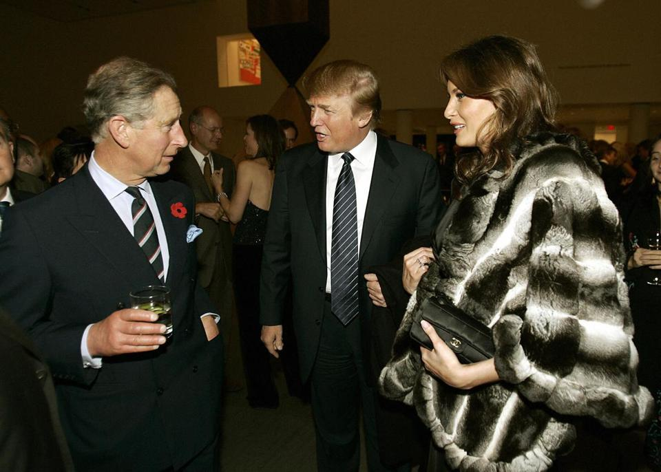 Britain's Prince Charles (left) talked with Donald Trump and his wife, Melania, during a reception at the Museum of Modern Art in November 2005 in New York.