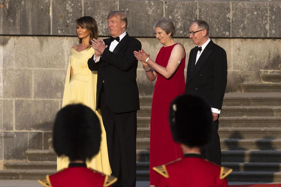 From left, first lady Melania Trump, President Trump, British Prime Minister Theresa May, and her husband Philip May met at Blenheim Palace on Thursday.