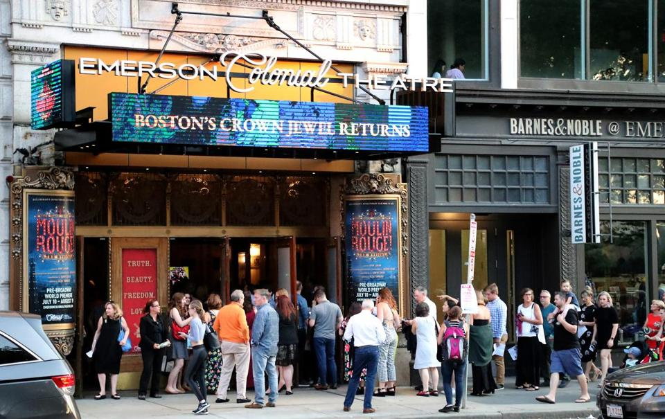 "Fans lined up for the world premiere of ""Moulin Rouge,"" at the Colonial Theatre."
