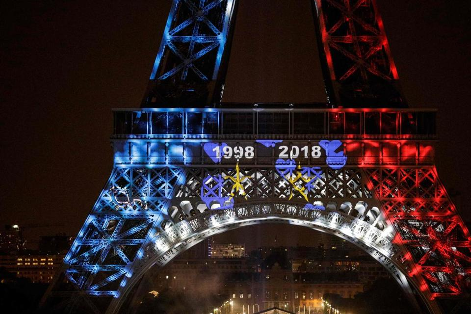 This picture taken from Trocadero on July 15, 2018 shows the Eiffel Tower illuminated in French national colors during celebrations after the Russia 2018 World Cup final football match between France and Croatia, on the Champs-Elysees avenue in Paris. France beat Croatia 4-2. / AFP PHOTO / Geoffroy VAN DER HASSELTGEOFFROY VAN DER HASSELT/AFP/Getty Images