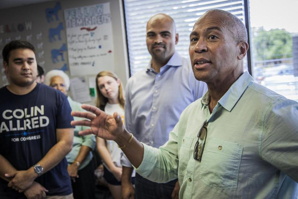 7-15-18 - Richardson, TX - Former Massachusetts Governor Deval Patrick campaigns for Colin Allred (background center), who is running for Congress in Texas, during an appearance at Allred's campaign headquarters in Richardson, Texas. Gov. Patrick is considering a 2020 presidential run. (Kim Leeson for The Boston Globe)