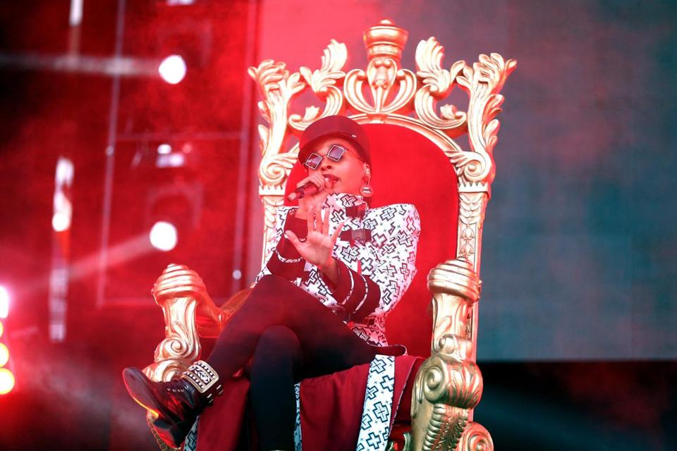 LOS ANGELES, CA - JUNE 02: (EDITORIAL USE ONLY. NO COMMERCIAL USE) Janelle Monae performs onstage during the 2018 iHeartRadio Wango Tango by AT&T at Banc of California Stadium on June 2, 2018 in Los Angeles, California. (Photo by Rich Polk/Getty Images for iHeartMedia )