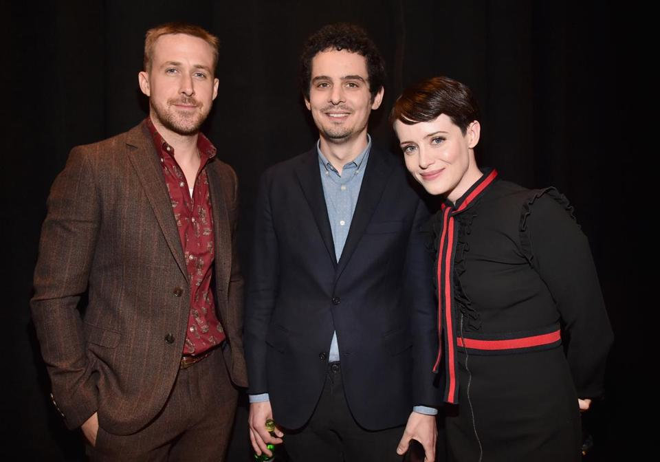 LAS VEGAS, NV - APRIL 25: (L-R) Actor Ryan Gosling, director Damien Chazelle and actor Claire Foy attend CinemaCon 2018 Universal Pictures Invites You to a Special Presentation Featuring Footage from its Upcoming Slate at The Colosseum at Caesars Palace during CinemaCon, the official convention of the National Association of Theatre Owners, on April 25, 2018 in Las Vegas, Nevada. (Photo by Alberto E. Rodriguez/Getty Images for CinemaCon)