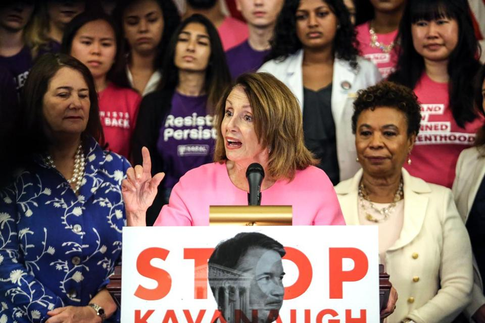 House minority leader Nancy Pelosi at an event July 17 opposing the nomination of Brett Kavanaugh to the Supreme Court.