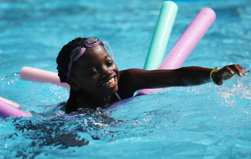 ASHFORD, CT - 07/16/2018 Christabell plays in the pool at the Hole in the Wall Gang Camp during afternoon program activities. Created by Paul Newman in 1988, Hole in the Wall Gang Camp is dedicated to providing a week long camp experience to seriously ill children and their families. Erin Clark for the Boston Globe