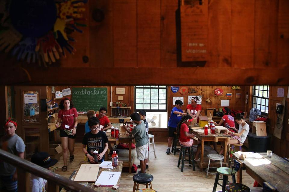 ASHFORD, CT - 07/16/2018 Campers make wooden crafts in the Workshop during their program activities. Created by Paul Newman in 1988, Hole in the Wall Gang Camp is dedicated to providing a week long camp experience to seriously ill children and their families. Erin Clark for the Boston Globe