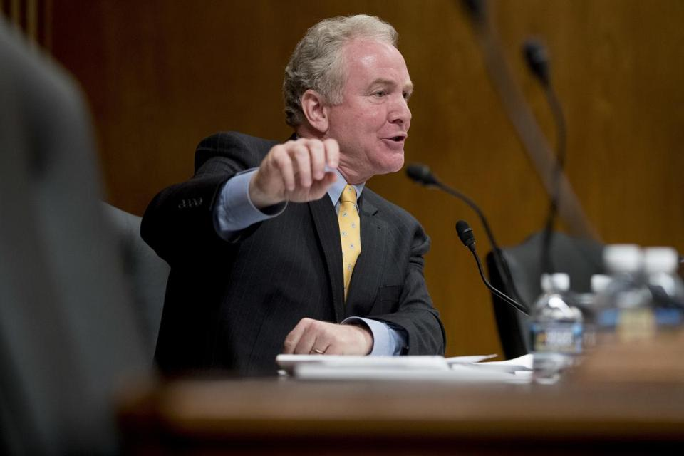 Sen. Chris Van Hollen, D-Md., questions Environmental Protection Agency Administrator Scott Pruitt as he testifies before a Senate Appropriations subcommittee on the Interior, Environment, and Related Agencies on budget on Capitol Hill in Washington, Wednesday, May 16, 2018. (AP Photo/Andrew Harnik)