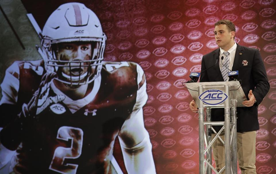 Boston College's Zach Allen answers a question during a news conference at the NCAA Atlantic Coast Conference college football media day in Charlotte, N.C., Thursday, July 19, 2018. (AP Photo/Chuck Burton)