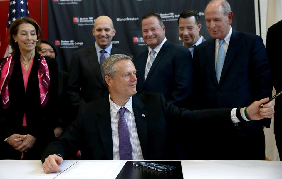 Massachusetts Governor Charlie Baker signed legislation in June at Bunker Hill Community College extending the state's funding of life sciences.
