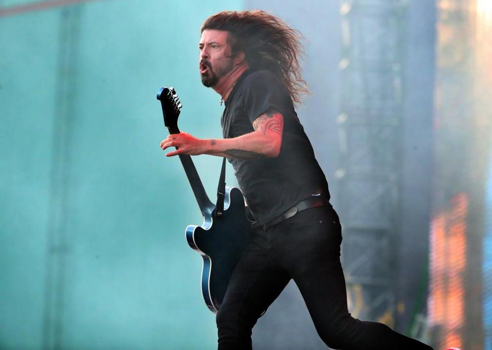 Dave Grohl performs with Foo Fighters at Fenway Park Saturday night.