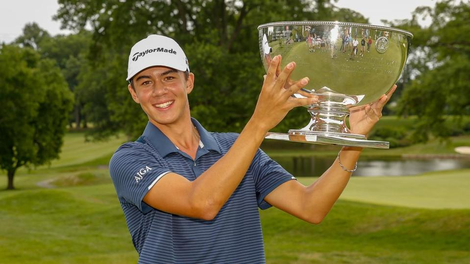 Michael Thorbjornsen holds the trophy after winning the Championship during  the final round at the 2018