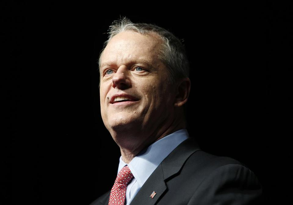 Massachusetts Governor Charlie Baker at the Massachusetts Republican Convention at the DCU Center in Worcester, Mass., Saturday, April 28, 2018. (AP Photo/Winslow Townson)