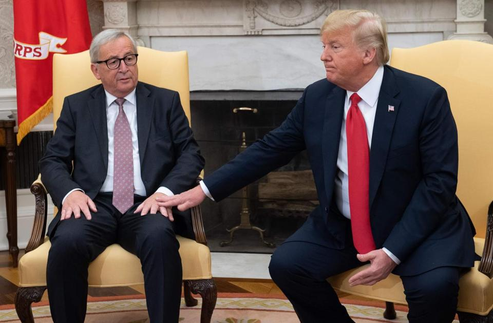 President Trump and European Commission chief Jean-Claude Juncker met Wednesday in Washington.