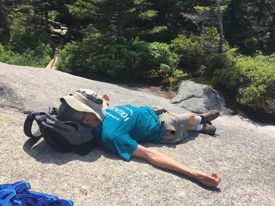 "George ""Woody"" Wood feeling the effects of sleep deprivation and high humidity while hiking in Maine."