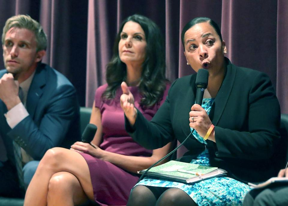 From left, candidates for Suffolk County district attorney Michael Maloney, Shannon McAuliffe, and Rachael Rollins.