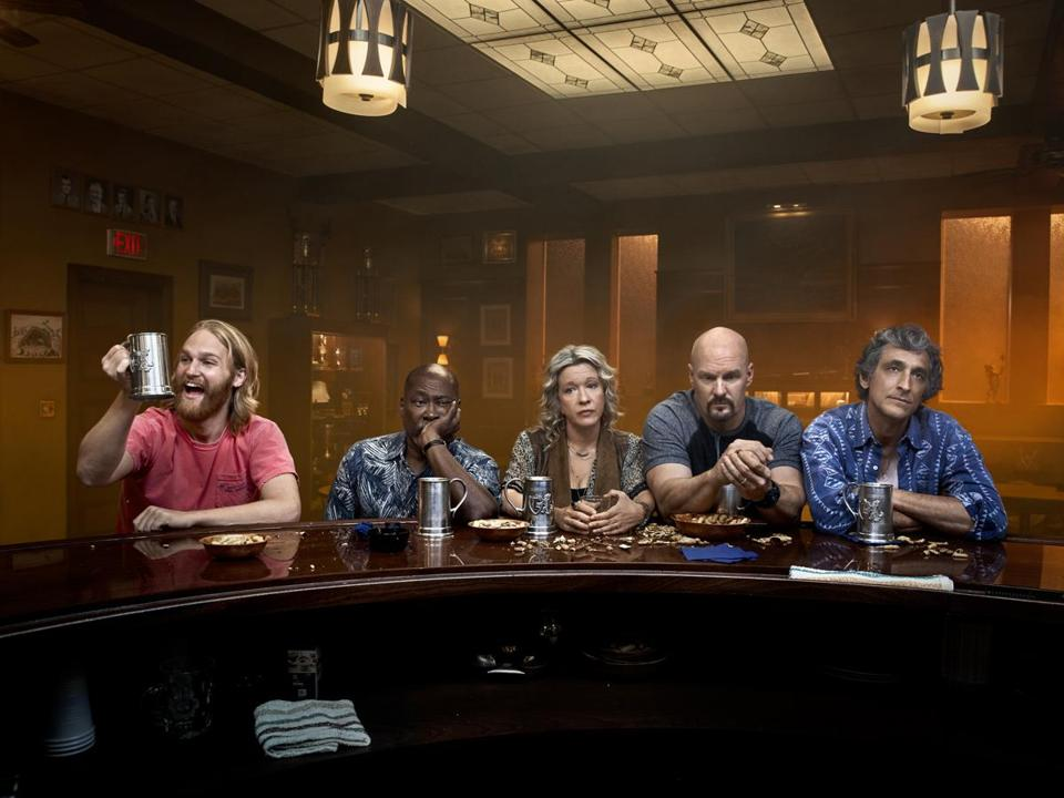 "From left: Wyatt Russell, Brent Jennings, Linda Emond, Eric Allan Kramer, and David Pasquesi in ""Lodge 49."""