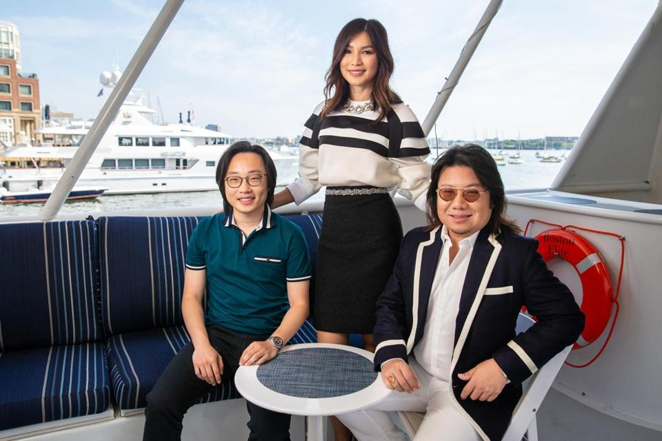 "Actors Jimmy O. Yang (left) and Gemma Chan joined author Kevin Kwan in Boston in late July to promote their new film ""Crazy Rich Asians."""