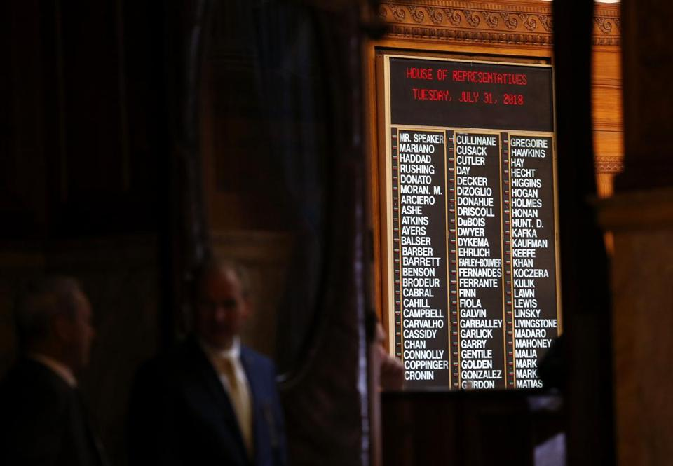 House lawmakers were listed on the board Tuesday, the last day of the session.