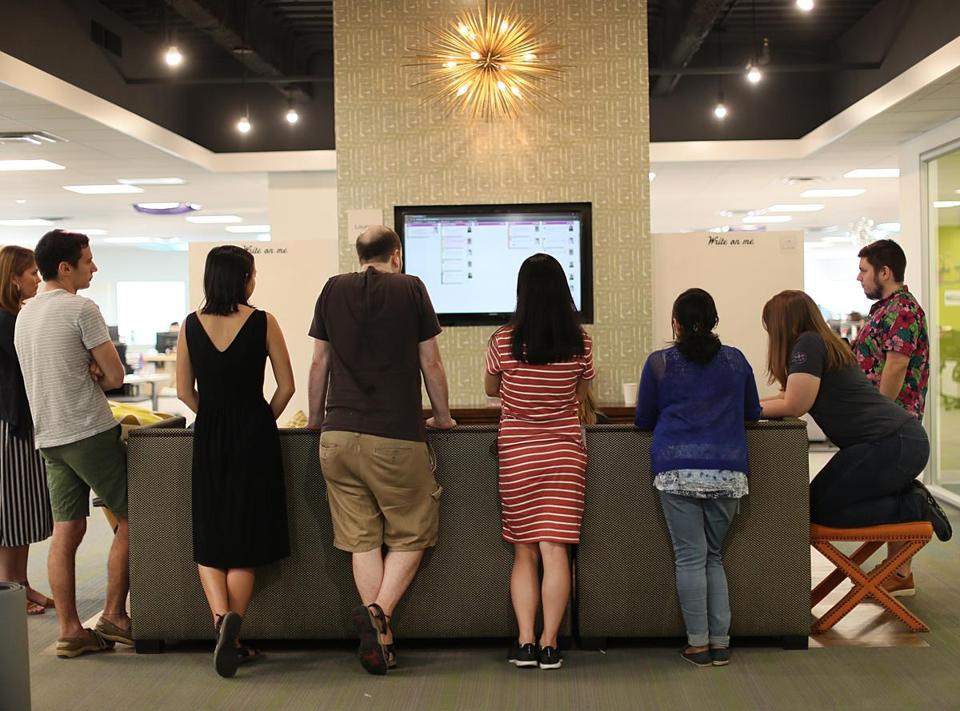 A standing meeting at the headquarters of Wayfair.