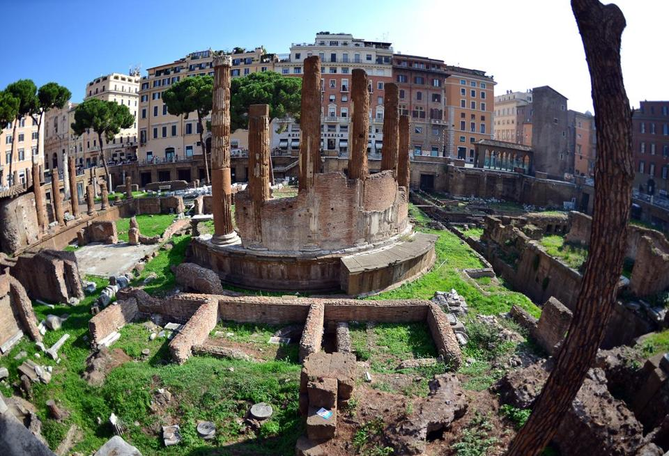 This picture shows a general view on October 11, 2012 downtown Rome of the Largo di Torre Argentina, the exact spot among ancient ruins where Roman general Julius Caesar was assassinated on March 15, 44 BC.