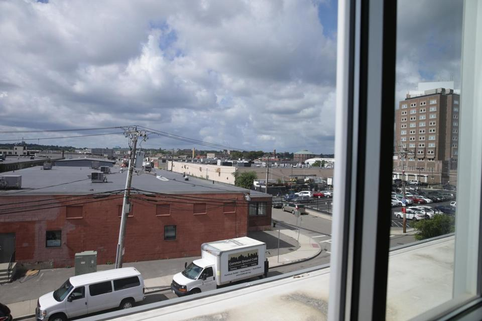 From D'Amato's office window, a view of the industrial neighborhood the Greater Boston Food Bank is located in.