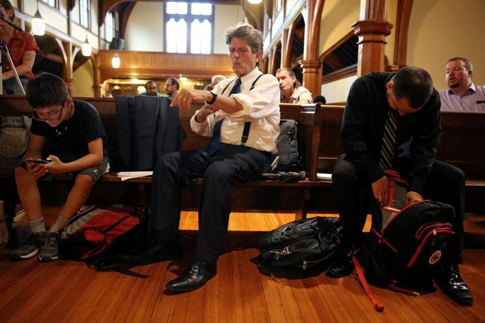 Bob Massie prepared to speak at an event titled Race & Economy in Boston at St. Mary's Episcopal Church in Dorchester on Aug. 2.
