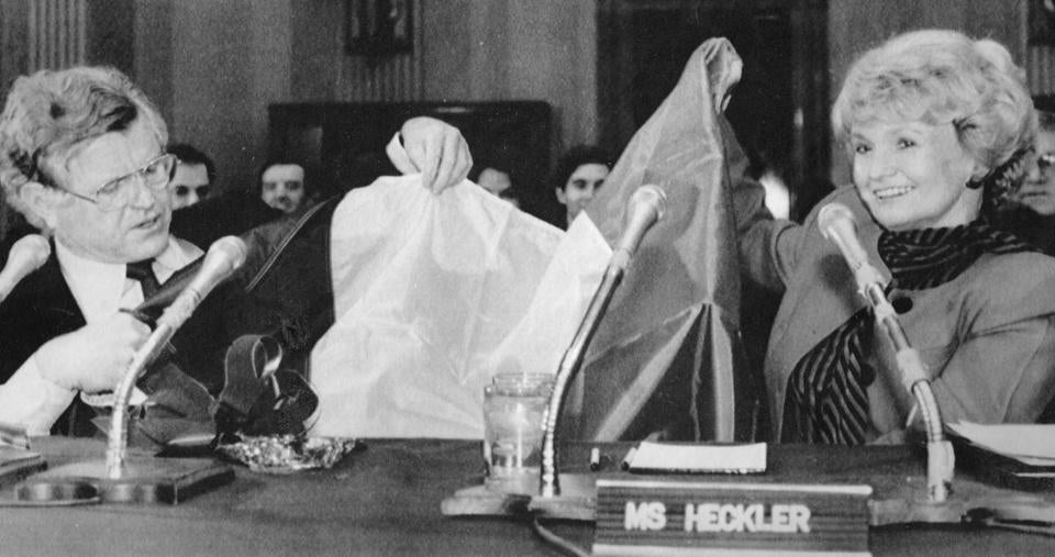 Senator Edward Kennedy gave Ms. Heckler, his former colleague, an Irish flag at her confirmation hearing as ambassador.