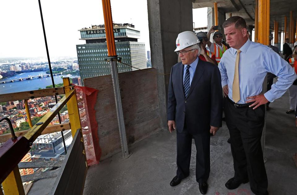 Developer Dick Friedman and Mayor Martin Walsh surveyed the view from the 59th floor.