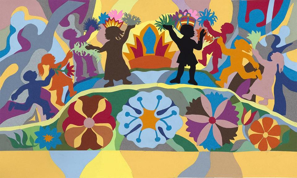 12ticketmuseum Painter and Poet: The Art of Ashley Bryant at Portland Museum of Art through Nov. 25, 2018. Ashley Bryan (American, b. 1923) ÒOh, when the children sing in peaceÓ 2006 Let It Shine: Three Favorite Spirituals 24-25 [Atheneum Books for Young Readers, 2007] Collage of cut colored paper on paper Image: 12 x 20 1/2 in; Object: 14 7/8 x 22 1/8 in.; Mat: 20 x 26 in. Frame: 22 1/8 x 28 1/8 x 3/4 in. Collection of The Ashley Bryan Center Image courtesy of the Portland Museum of Art.