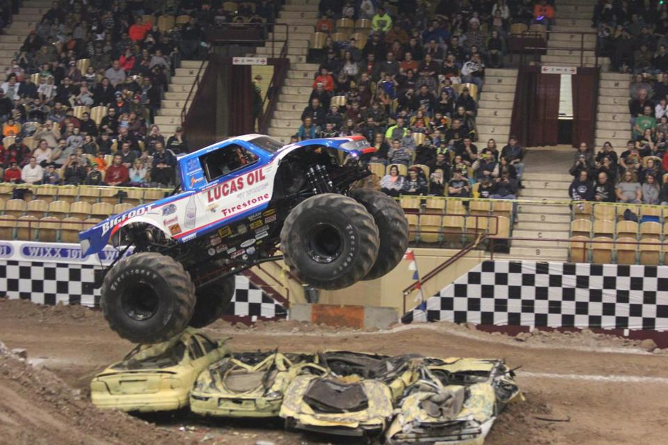 The monster truck Bigfoot (#15) on jumping at the Brown County Veterans Memorial Arena during the Monster XL tour event. 7 February 2015
