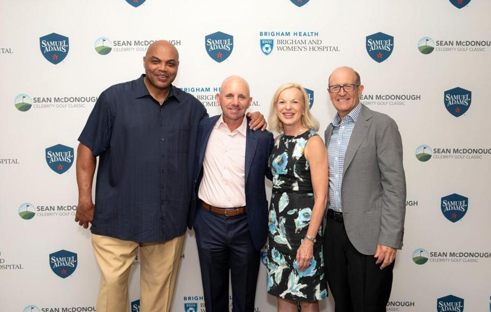 From left: NBA analyst Charles Barkley, Sean McDonough, Brigham Health President Betsy Nabel, an Gary Nabel, chief scientific officer and senior vice president at Sanofi.