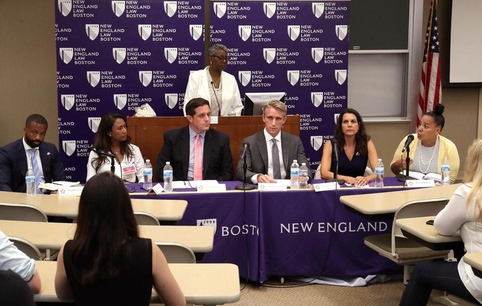 From left, Suffolk District Attorney candidates Evandro Carvalho, Linda Champion, Greg Henning, Michael Maloney, Shannon McAuliffe, and Rachael Rollins at a debate earlier this month.