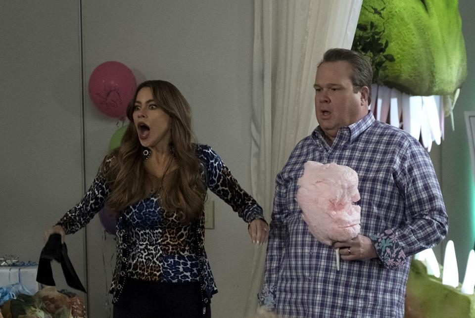 "Sofia Vergara and Eric Stonestreet in an episode of ""Modern Family."""