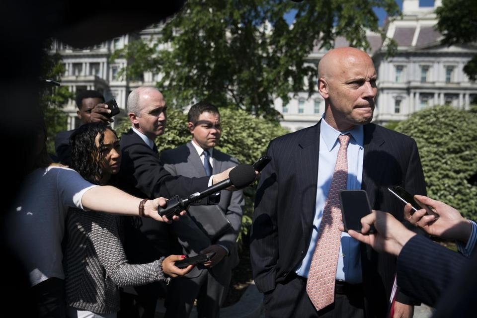 Marc Short spoke with reporters in May, when he was the White House legislative affairs director.
