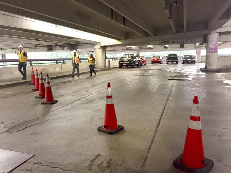 Repair work at the Alewife parking garage has reduced parking by about 500 spaces.
