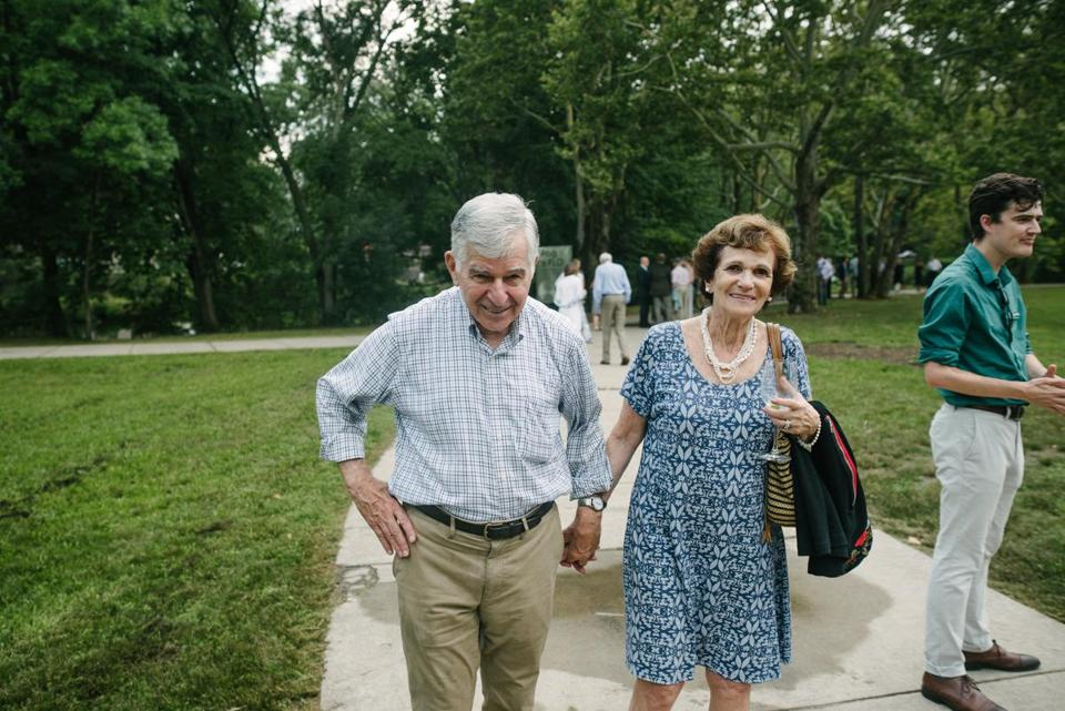"Michael and Kitty Dukakis took in the public art exhibit ""Fog x FLO"" along the Emerald Necklace."