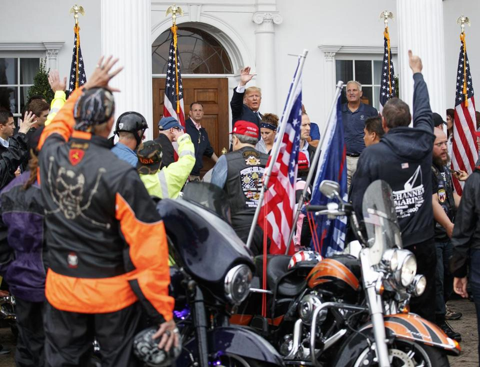 The tweet followed President Trump's meeting on Saturday with about 180 bikers who are part of a ''Bikers for Trump'' group.